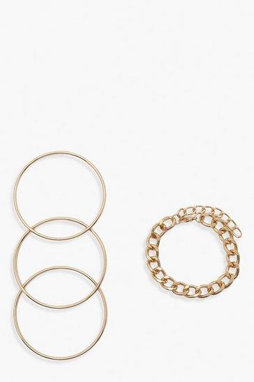 Gold metallic Chunky Chain Bangle Pack