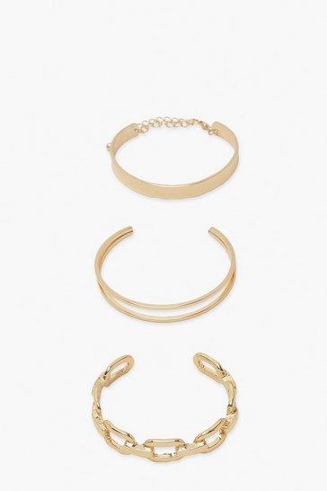 Gold metallic Chunky Bangle Bracelet Pack