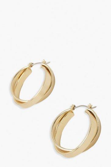 Gold metallic Double Loop Hoop Earrings