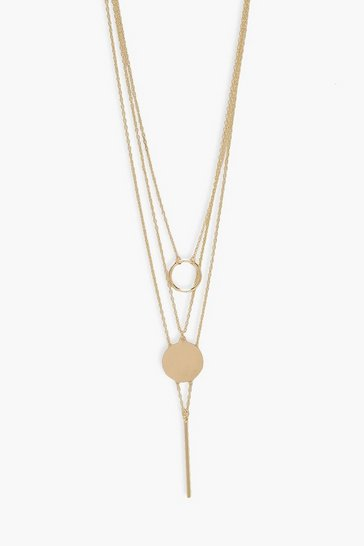 Gold metallic Layered Disc Plunge Line Necklace