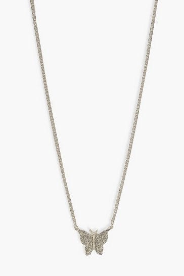 Silver Diamante Pendant Butterfly Necklace
