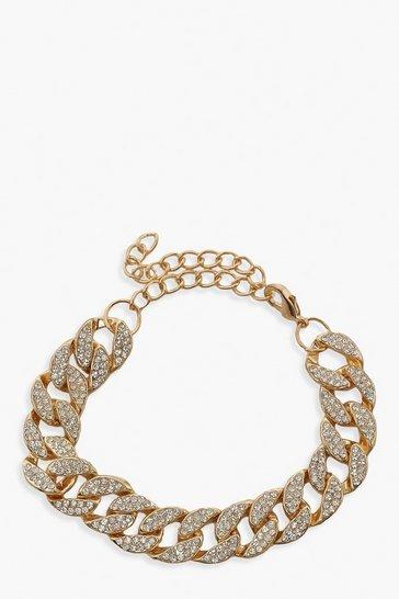 Gold metallic Diamante Pave Link Bracelet