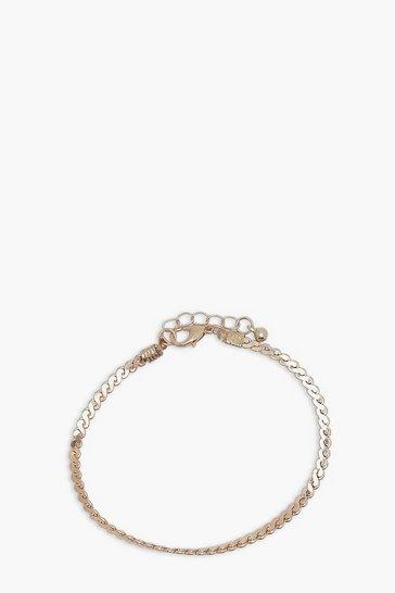 Gold metallic Flat Snake Single Chain Bracelet