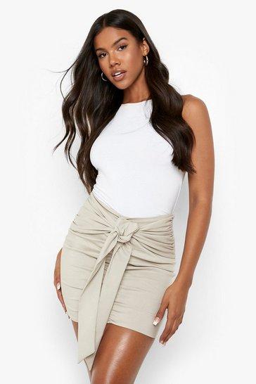 Sand beige V Waist Stretch Woven Tie Mini Skirt