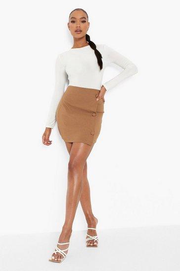 Tan brown Stretch Woven Button Detail Wrap Mini Skirt