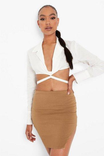 Tan brown Stretch Woven Cut Out Hem Mini Skirt