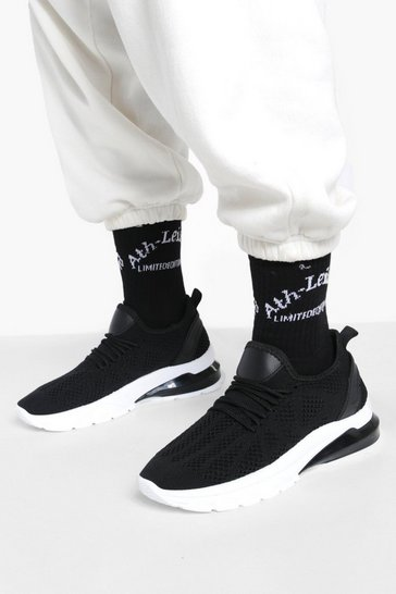 Black Wide Fit Bubble Sole Knitted Sports Trainers