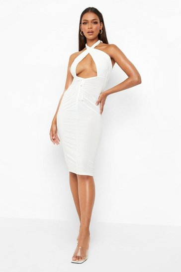 Ecru white Halter Neck Ruched Detail Midi Dress
