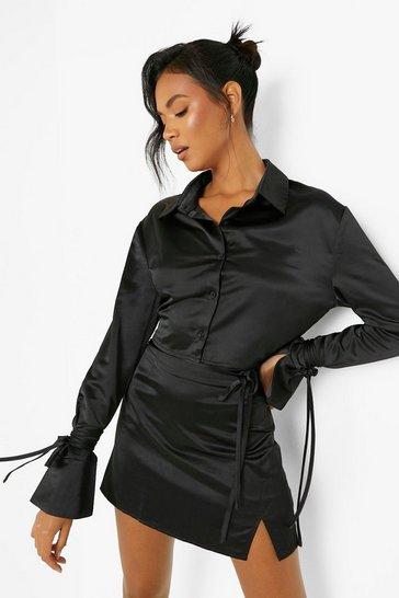 Black Satin Tie Detail Cropped Shirt & Skirt Co-Ord