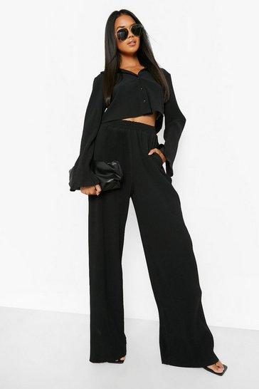 Black Plisse Rib Button Shirt & Trouser Co-Ord