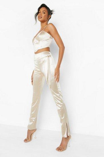 Stone beige Madison Beer Satin Asymmetric Split Hem Skinny Trouser