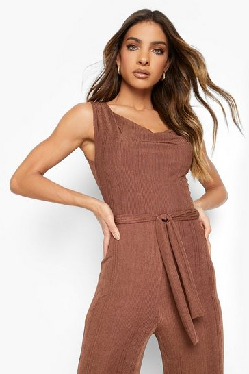 Chocolate brown Recycled Rib Wide Leg Jumpsuit