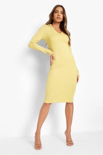 Mustard yellow Recycled Ribbed Midi Dress