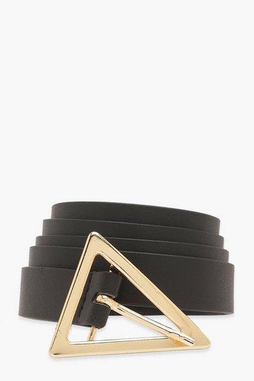 Triangle Buckle Belt In Black Faux Leather