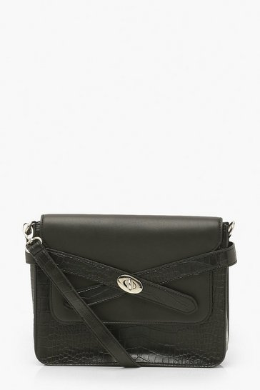 Black Buckle Strap Cross Body Bag