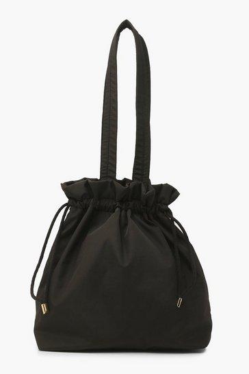 Black Oversized Toggle Tote Shopper Bag