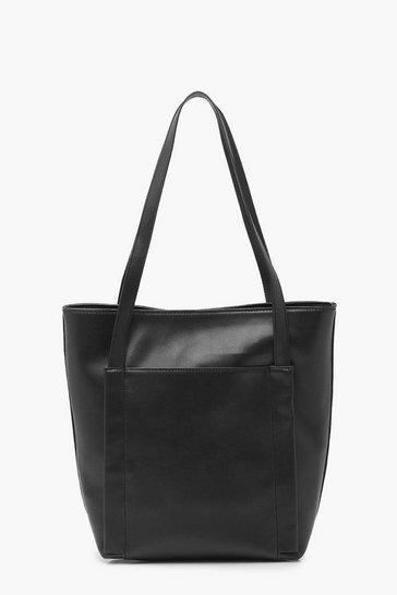 Black Large Pocket Shopper Bag