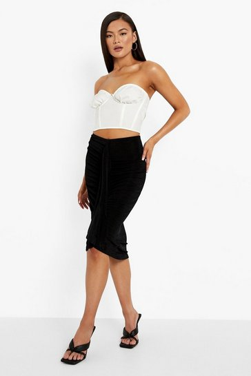 Black Textured Slinky Drape Front Ruched Midi Skirt