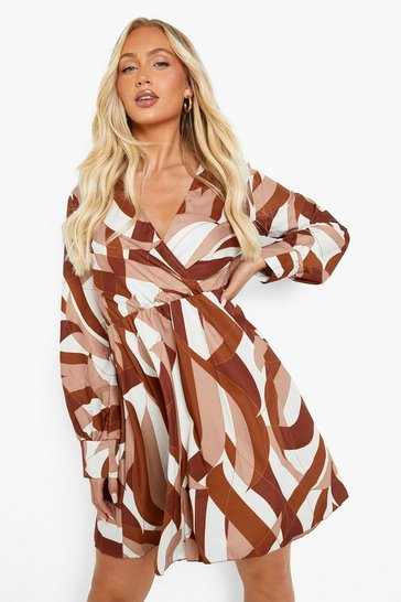 Chocolate brown Abstract Print Pleated Skirt Skater Dress
