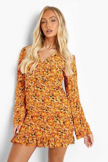 Mustard yellow Ditsy Floral Ruffle Hem Mini Dress