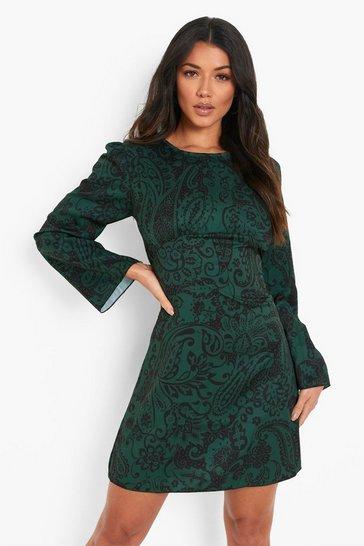 Green Paisley Print Ruched Bust Mini Dress