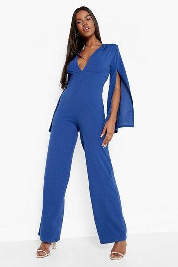 Cobalt blue Wide Leg Cape Sleeve Jumpsuit