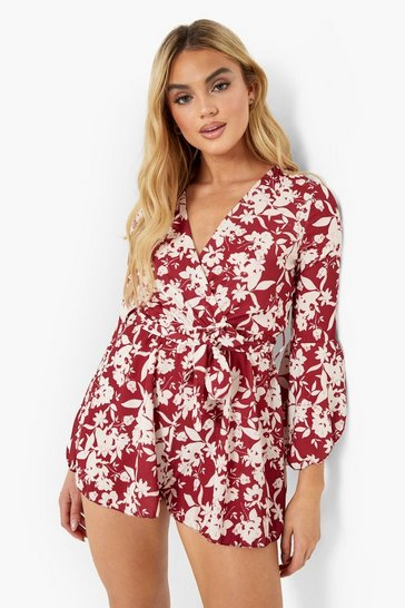 Berry red Floral Print Flared Sleeve Skater Dress
