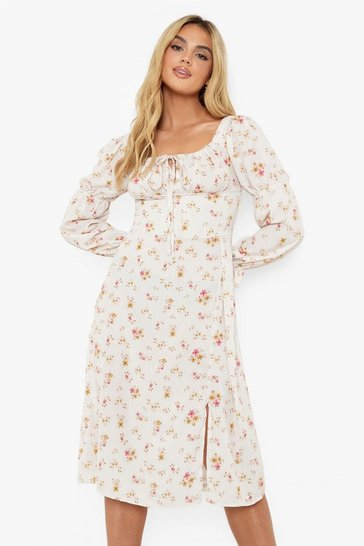 Stone beige Floral Print Puff Sleeve Midi Dress