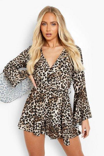 Stone beige Leopard Flare Sleeve Tie Waist Playsuit