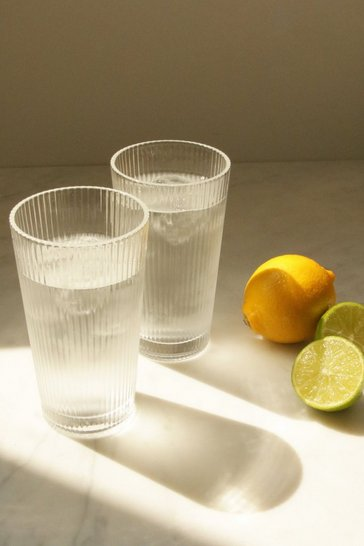 Clear 2 Pack Ribbed Glasses