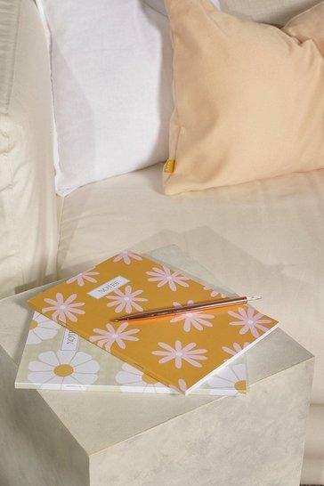 Yellow Peechy Prints Flower Print Notebook Set