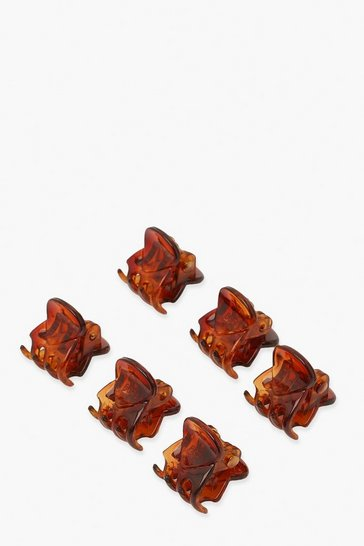 Brown Tort Mini Hair Claw Clips - Pack Of 6
