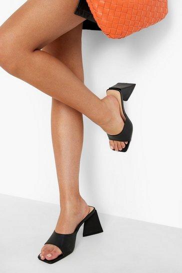 Black Triangle Heel Mid Height Mule