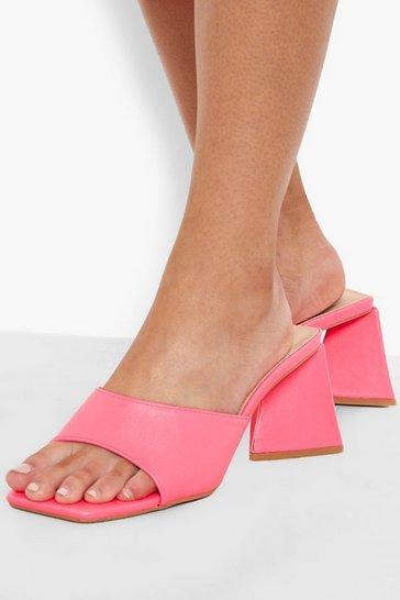 Pink Triangle Heel Mid Height Mule