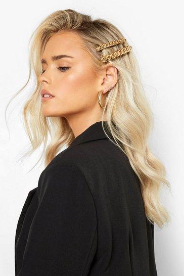 2 Pack Gold Chain Hair Slide