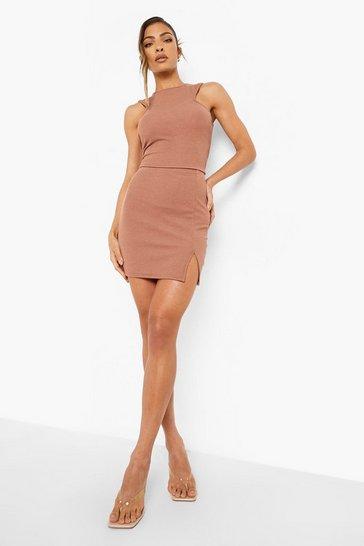 Mocha beige Crinkle Split Mini Skirt