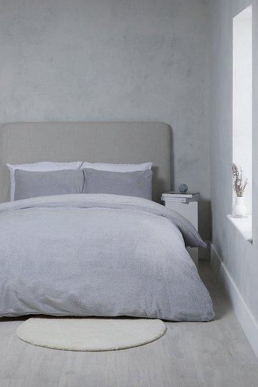 Grey Teddy Fleece Double Duvet Set