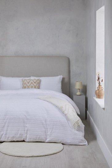 White Textured Stripe Double Duvet Set