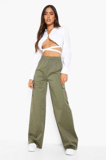 Khaki Cotton Twill Straight Leg Cargo Trouser