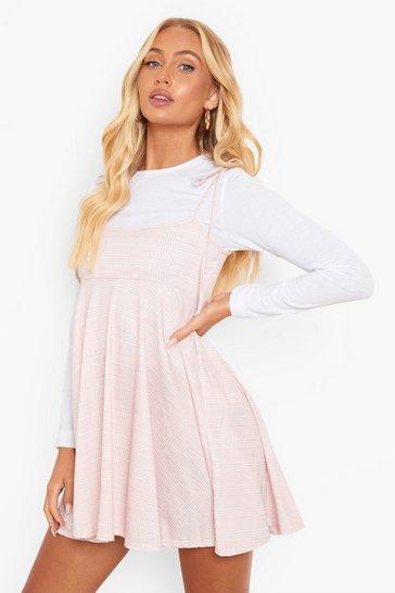 Blush pink Check Print Skater Pinafore Dress And T Shirt