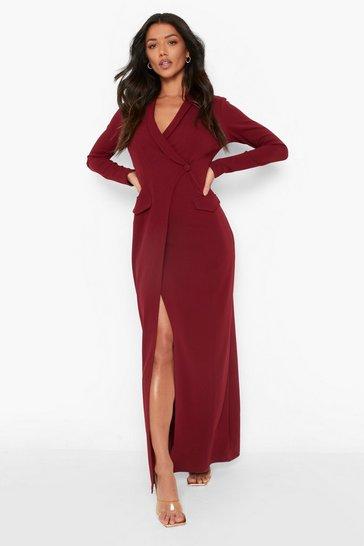 Berry red Pocket Detail Wrap Maxi Blazer Dress
