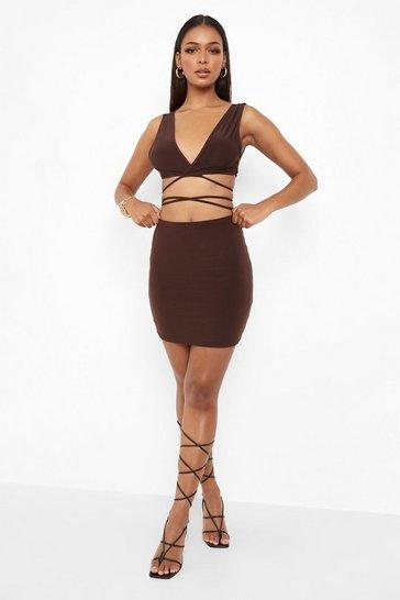Chocolate brown Strappy Tie Waist Crop Top & Mini Skirt