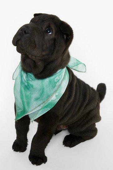 Green Dog Print Marble Bandana