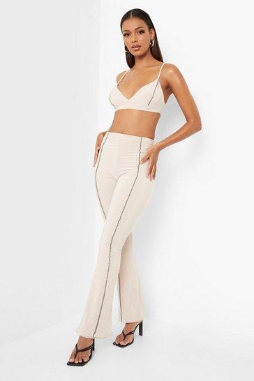 Beige Double Slinky Bralet & Flared Trouser Co-ord
