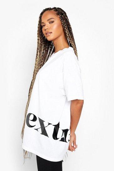 White Oversized Extra Printed T-Shirt