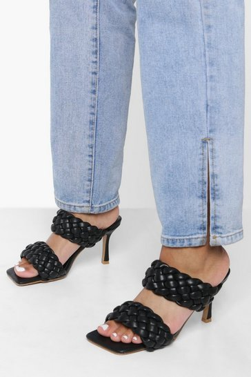 Black Double Weave Detail Heeled Mules