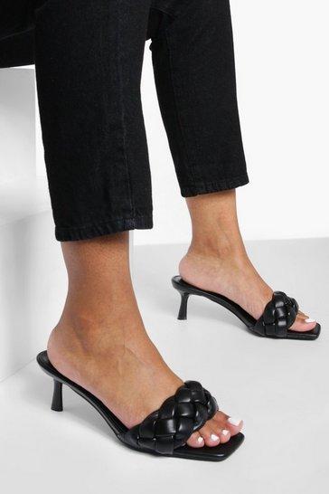 Black Plaited Detail Heeled Mules