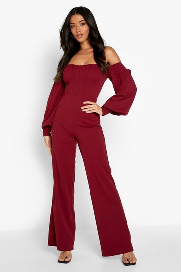 Berry red Bardot Wide Leg Tailored Jumpsuit