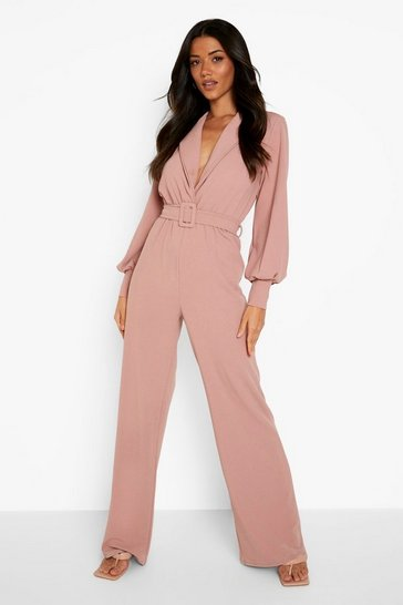 Blush pink Balloon Sleeve Tailored Wide Leg Jumpsuit