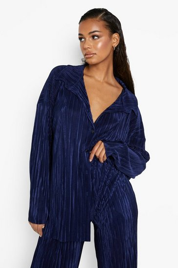 Navy Plisse Oversized Relaxed Fit Shirt